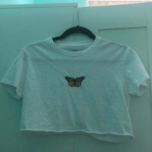 Brandy Melville crop butterfly tee